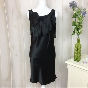 ABS Allen Schwartz Black Silky Cocktail Dress